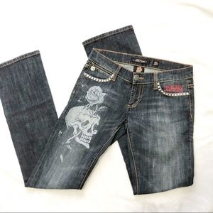Ed Hardy skull studded dark wash denim jeans Sz 26